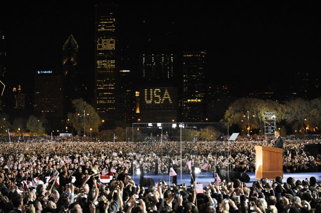 President Barack Obama addressed a massive crowd at his election night rally in Grant Park in Chicago on Nov. 4, 2008. He announced his 2012 re-election effort Monday. (UPI Photo/Pat Benic)