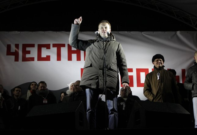 Opposition leader Alexei Navalny speaks during a massive Russia without Putin rally in Moscow to protest against Vladimir Putin's victory in a presidential election on March 5, 2012. UPI/Yuri Gripas