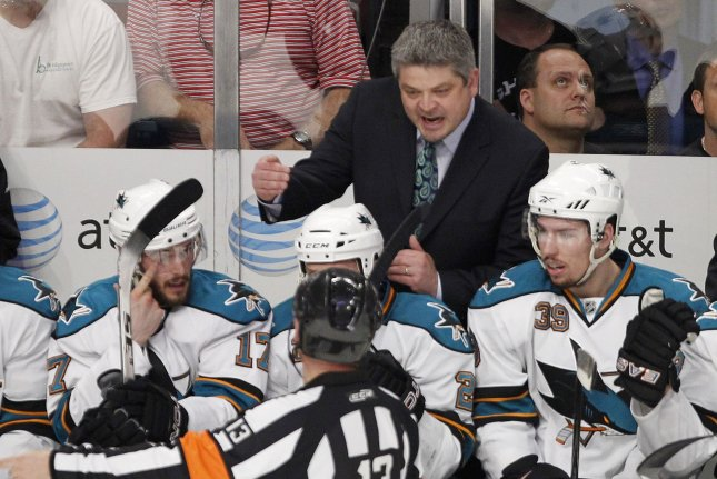 Former San Jose Sharks head coach and current Edmonton Oilers coach Todd McLellan talks to the referee during a game coaching his former team, the San Jose Sharks. McLellan faces off against his old team in the first round of the 2017 NHL playoffs. File photo by Brian Kersey/UPI