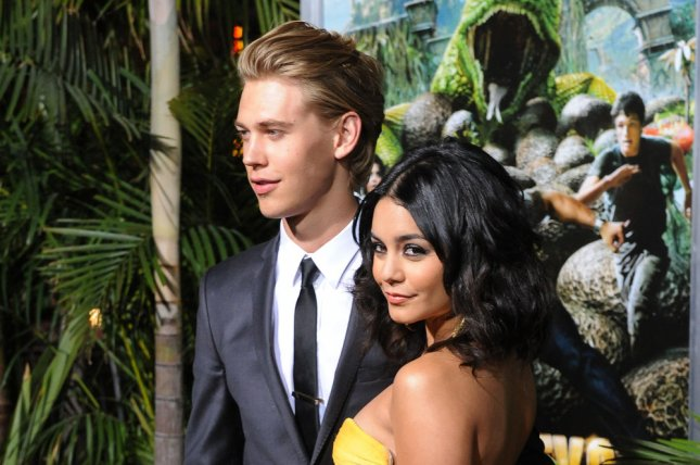 Vanessa Hudgens (R) and Austin Butler attend the Los Angeles premiere of Journey 2: The Mysterious Island on February 2, 2012. The actress dedicated a sweet post to Butler on his birthday Thursday. File Photo by Jim Ruymen/UPI