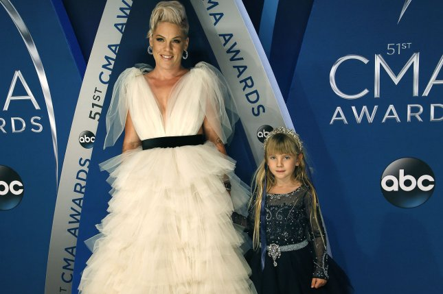 Pink (L) and daughter Willow attend the Country Music Association Awards on Wednesday. Photo by John Sommers II/UPI