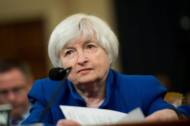 Janet Yellen, chairwoman of the Board of Governors of the Federal Reserve, presided over her final meetings of the Federal Open Market Committee, which kept the Fed's benchmark interest rate unchanged Wednesday. File Photo by Kevin Dietsch/UPI