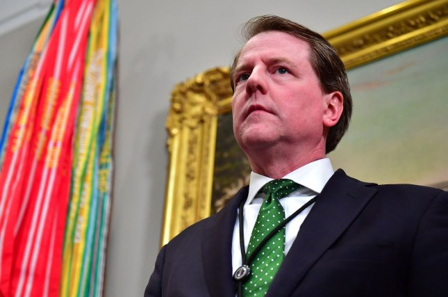 White House counsel Don McGahn cooperated extensively with special counsel Robert Mueller's Russia probe, according to a New York Times report on Saturday. Photo by Kevin Dietsch/UPI