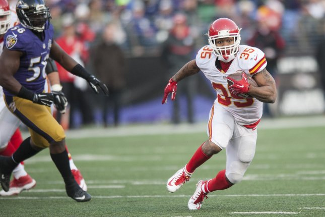 Former Kansas City Chiefs running back Charcandrick West (35) runs the ball during the fourth quarter against the Baltimore Ravens on December 20, 2015 at M&T Bank Stadium in Baltimore. File photo by Pete Marovich/UPI