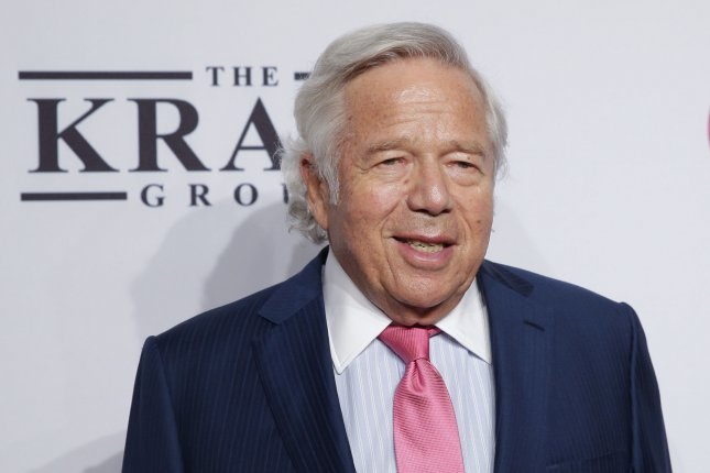 Former New England Patriots linebacker Tedy Bruschi said he considers team owner Robert Kraft (pictured) a very good friend. Bruschi -- who spent his entire career with the Patriots -- said he is having a tough and confusing time after learning Kraft was charged Friday with soliciting a prostitutes in Jupiter, Fla. File Photo by John Angelillo/UPI