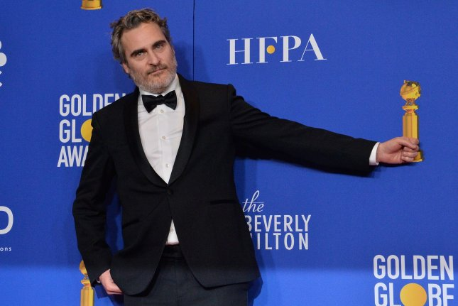 Actor Joaquin Phoenix appears backstage Sunday after winning the award for Best Performance by an Actor in a Motion Picture - Drama for Joker at the 77th Golden Globe Awards. Photo by Jim Ruymen/UPI