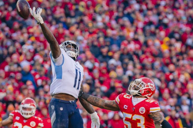 Tennessee Titans wide receiver A.J. Brown (11) had 153 yards and a score last week and is my No. 1 option for Week 8. File Photo by Kyle Rivas/UPI