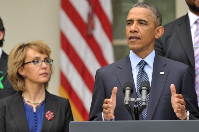 President Barack Obama delivers a statement on the Senate's failure to pass a measure to expanded gun background checks, at the White House on April 17, 2013 in Washington, D.C. Obama was joined by former congresswoman, and gun violence victim, Gabby Giffords. UPI/Kevin Dietsch