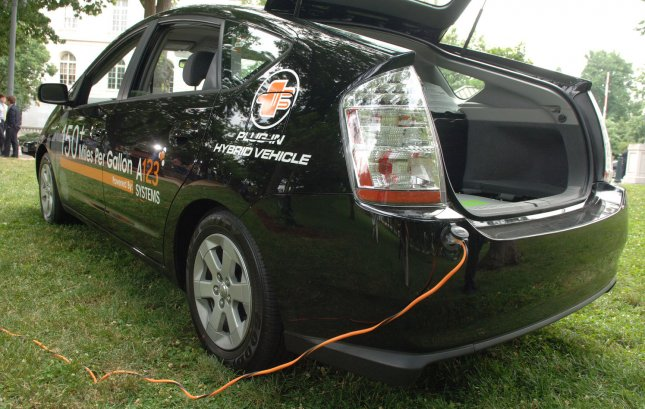 Agriscientist Cliff Ricketts will attempt to complete his journey with a plug-in hybrid 2007 Prius (model pictured above) using only two battery packs and 95 percent ethanol. (UPI Photo/Kevin Dietsch)