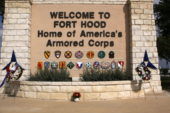 The main gate at the Fort Hood Army Base is seen on South Fort Hood Street in Killeen, Texas on November 7, 2009. Maj. Nidal Malik Hasan is charged with the deaths of 13 and 29 others wounded after a shooting spree at the Fort Hood army base on November 5. UPI/Robert Hughes
