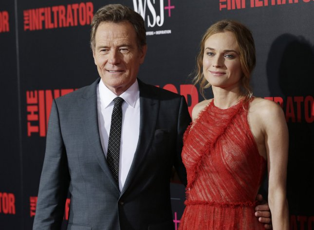 Bryan Cranston and Diane Kruger arrive on the red carpet at The Infiltrator New York premiere at AMC Loews Lincoln Square Theater on July 11, 2016 in New York City. Photo by John Angelillo/UPI