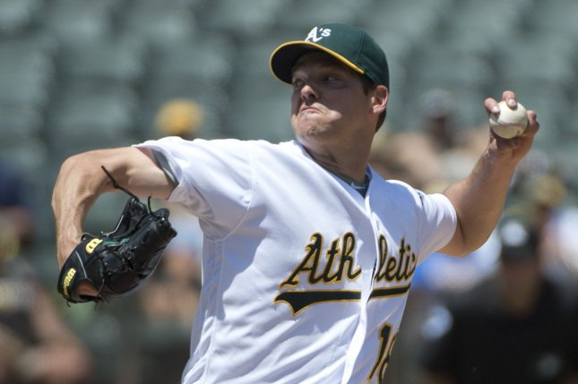 Former Oakland A's starting pitcher Rich Hill throws to the Texas Rangers in the fourth inning at the Oakland Coliseum in Oakland, California on May 18, 2016. Photo by Therry Schmitt