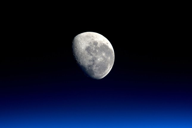 ESA astronaut Tim Peake took this photograph, released in January, of the Moon from aboard the International Space Station. Wednesday, the Federal Aviation Administration issued formal approval for a planned commercial mission to the moon next year by private exploration and mining company Moon Express. The company plans to put a lander on the lunar surface and eventually mine natural resources there. Photo by NASA/UPI
