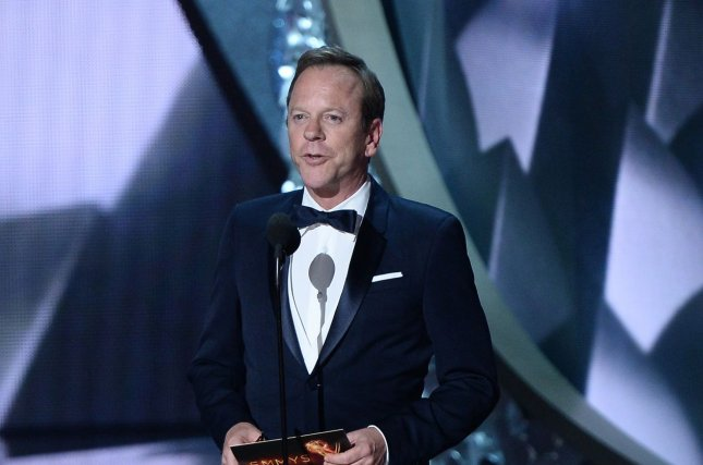 Actor Kiefer Sutherland speaks onstage during the 68th annual Primetime Emmy Awards at Microsoft Theater in Los Angeles on September 18. Sutherland's political thriller Designated Survivor has been renewed for a second season. File Photo by Jim Ruymen/UPI