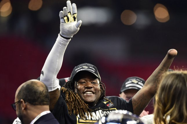 University of Central Florida Knights linebacker Shaquem Griffin celebrates after the Chick-fil-A Peach Bowl NCAA football game on Monday at the Mercedes-Benz Stadium in Atlanta. Photo by David Tulis/UPI