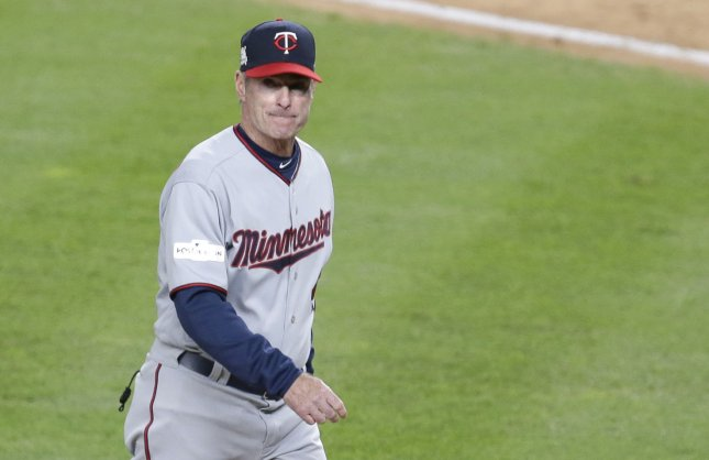 Manager Paul Molitor leads his Minnesota Twins against the Tampa Bay Rays on Sunday. Photo by John Angelillo/UPI