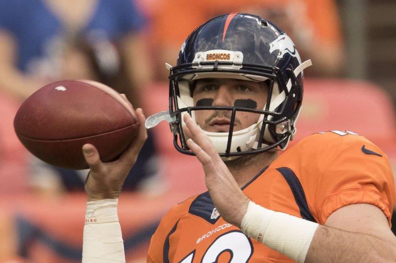 Former Denver Broncos quarterback Paxton Lynch. File photo by Gary C. Caskey/UPI