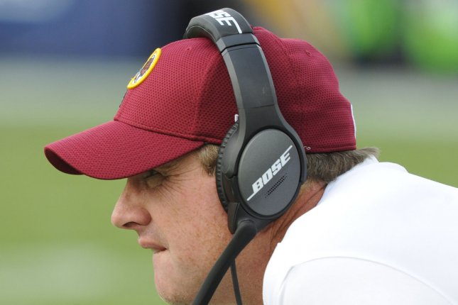 Coach Jay Gruden is down two quarterbacks as his Washington Redskins face the New York Giants on Sunday. Photo by Lori Shepler/UPI