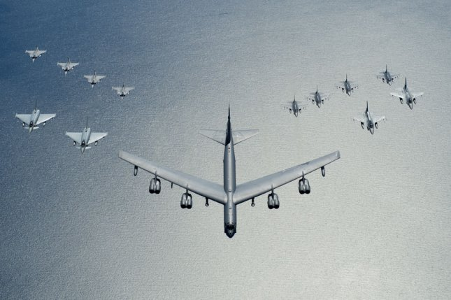 A U.S. Air Force ‪‎B-52‬ Stratofortress leads a formation of aircraft, including two Polish air force ‪‎F-16‬ Fighting Falcons, four U.S. Air Force F-16 Fighting Falcons, two German ‪‎Eurofighter‬ ‎Typhoons‬ and four ‪‎Swedish‬ ‎Gripens‬ over the Baltic Sea, on June 9, 2016. Photo by Senior Airman Erin Babis/U.S. Air Force