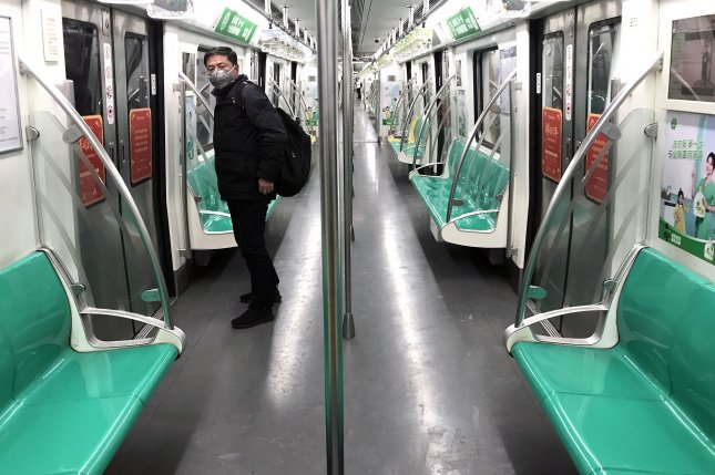 A subway carriage in Beijing is nearly empty during a normally busy rush hour in early February as the coronavirus spread through China and to other nations around the world. Photo by Stephen Shaver/UPI
