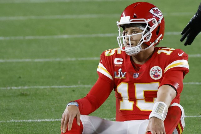 Patrick Mahomes and the Kansas City Chiefs struggled against the Tampa Bay Buccaneers on Sunday in Super Bowl LV, but still are the betting favorites to win the Super Bowl in 2022.  Photo by John Angelillo/UPI