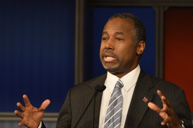 Republican presidential hopeful retired neurosurgeon Ben Carson says refugee camps offer a long-term solution until Syrian refugees are able to return to their homeland. Photo by Brian Kersey/UPI