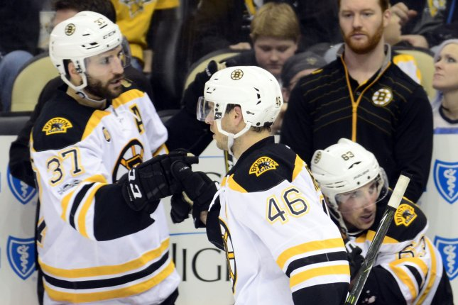 After losing an important game in Ottawa on Monday, the Bruins to a 6-1 blowout of the Detroit Red Wings, Boston's ninth win in 12 games under interim coach Bruce Cassidy. File Photo by Archie Carpenter/UPI