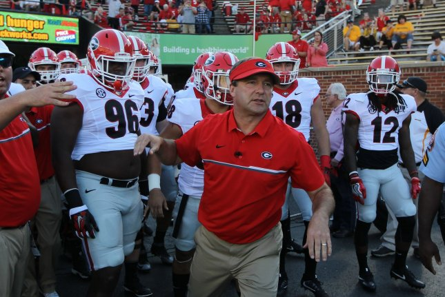 Georgia Bulldogs head coach Kirby Smart leads his team to the field to play the Missouri Tigers on September 17 at Faurot Field in Columbia, Mo. File photo by Bill Greenblatt/UPI