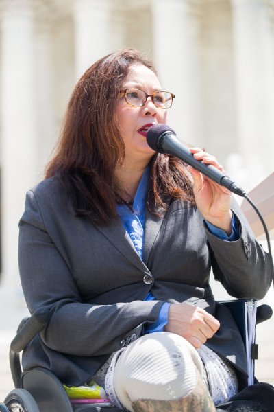 Sen. Tammy Duckworth, D-Ill., speaks during a news conference in front of the Supreme Court marking the 27th anniversary of the signing of the Americans with Disabilities Act (ADA) in Washington, DC on July 26, 2017. On Wednesday, the Senate changed rules to allow newborn babies on the Senate floor after Duckworth gave birth last month. File Photo by Erin Schaff/UPI