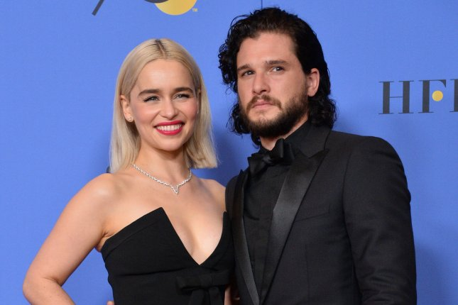 Emilia Clarke (L) and Kit Harington who portray Daenerys Targaryen and Jon Snow on Game of Thrones, appear as their characters in new images for Season 8. File Photo by Jim Ruymen/UPI
