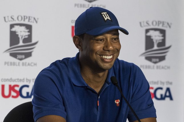Tiger Woods answers questions in the interview room Tuesday at the U.S. Open in Pebble Beach, Calif. Photo by Terry Schmitt/UPI