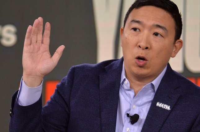 Former presidential candidate and businessman Andrew Yang is suing the New York State Board of Elections, accusing it of violating his rights when it took his name off the state's Democratic primary ballot. Photo by Mike Theiler/UPI.