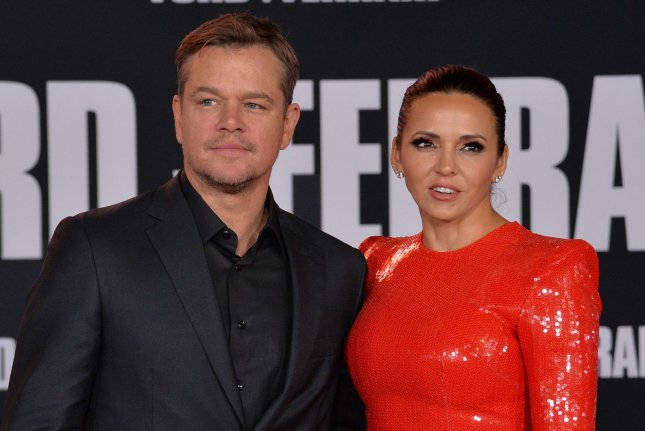 The Last Duel star Matt Damon (L) and his wife Luciana Barroso attend the premiere of Ford v Ferrari in November 2019. The Last Duel will be screened at the Venice Film Festival. File Photo by Jim Ruymen/UPI