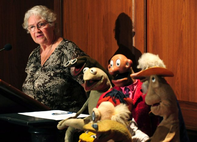 Jane Henson, wife of Jim Henson, co-founder of the Muppets and founder of the Jim Henson Legacy, speaks alongside characters from Henson's Sam and Friends, including the original Kermit, during a donation ceremony at the Smithsonian's National Museum of American History in Washington on August 25, 2010. The Jim Henson Legacy donated the puppets for the Smithsonian's permanent entertainment collection. UPI/Kevin Dietsch