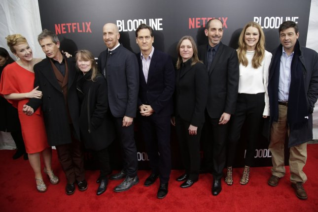 The cast and creators of Bloodline Katie Finneran (L-R), Ben Mendelsohn, Todd Kessler, Glenn Kessler, Daniel Zilman, Cindy Holland, Sissy Spacek, Jacinda Barrett and Kyle Chandler arrive on the red carpet at the Netflix Series premiere at SVA Theater in New York City on March 3, 2015. The drama has now been renewed for a third season. File Photo by John Angelillo/UPI