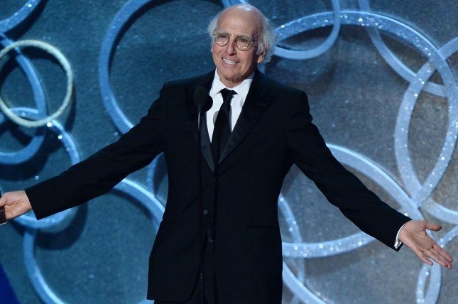 Curb Your Enthusiasm star Larry David speaks onstage during the 68th annual Primetime Emmy Awards on September 18. Hackers have leaked new episodes of the comedy series. File Photo by Jim Ruymen/UPI