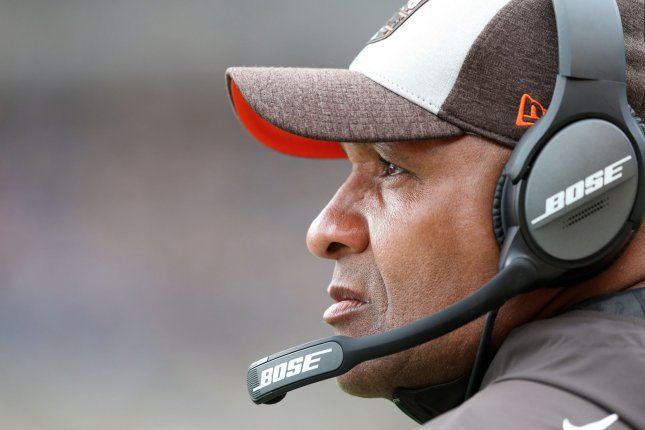 Former Cleveland Browns coach Hue Jackson looks on during the Browns' game against the Pittsburgh Steelers on October 28 in Pittsburgh. Photo by Aaron Josefczyk/UPI