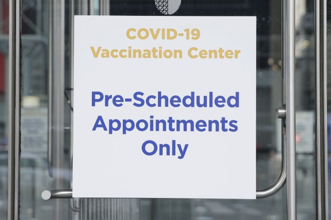 The CDC says almost 130 million U.S. adults are now fully vaccinated -- or about 49.8% of the adult population.File Photo by John Angelillo/UPI