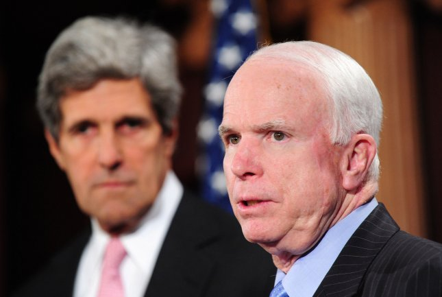 Sen. John Kerry, D-Mass., (L) and Sen. John McCain, R-Ariz., introduced a resolution authorizing U.S. action supporting NATO airstrikes on Libya. UPI/Kevin Dietsch