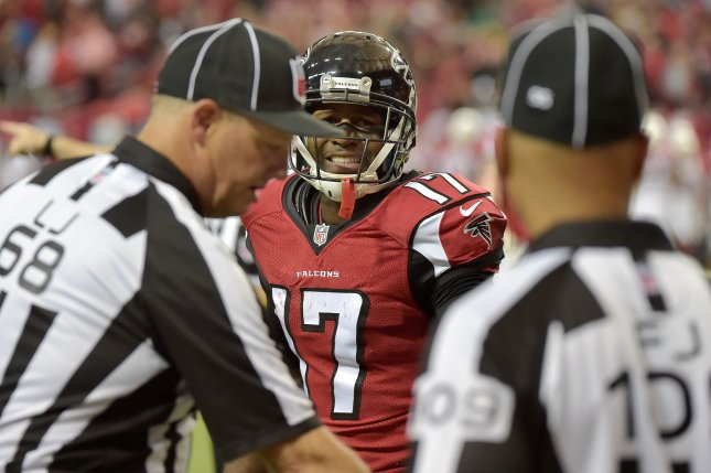 Former Atlanta Falcons wide receiver Devin Hester (17) reacts as officials nullify a potential Hester touchdown run because of an Atlanta penalty during the first half of their NFL game against the Arizona Cardinals at the Georgia Dome on November 30, 2014, in Atlanta. UPI/David Tulis