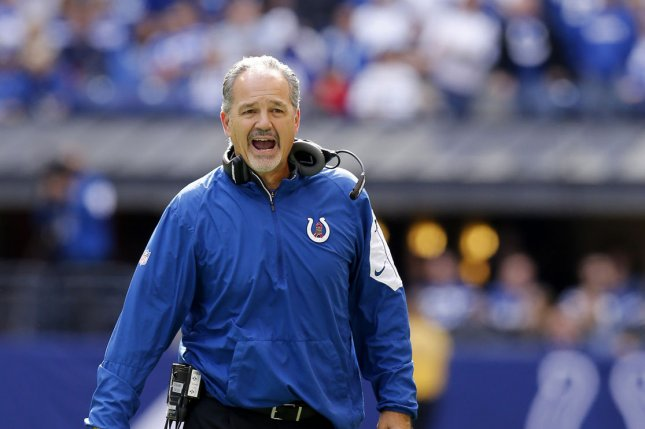 Indianapolis Colts head coach Chuck Pagano reacts to his teams play against the New Orleans Saints during the first half of play at Lucas Oil Stadium in Indianapolis, Indiana, October 25, 2015. File photo by John Sommers II/UPI