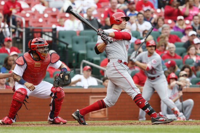 Cincinnati Reds' Joey Votto swings, hitting a home run against the St. Louis Cardinals. File photo by Bill Greenblatt/UPI