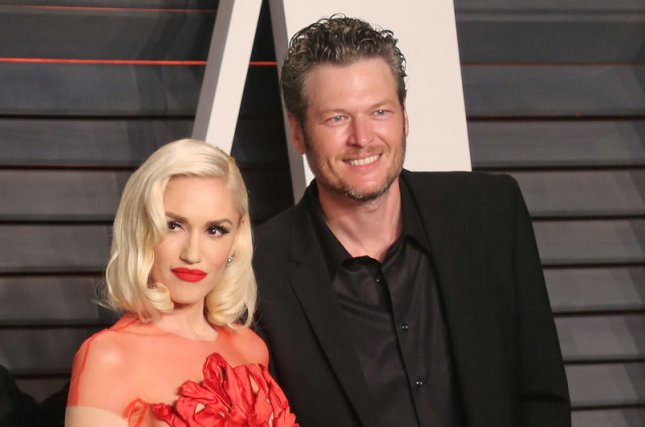 Blake Shelton (R) sang Wednesday at the 2017 CMT Music Awards as singer girlfriend Gwen Stefani watched from afar. File Photo by David Silpa/UPI