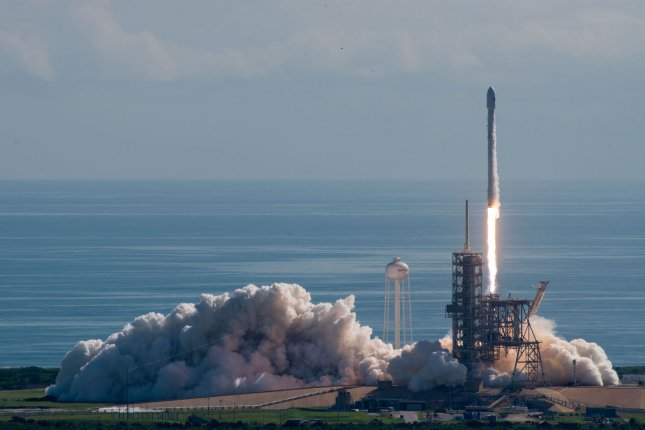 SpaceX's Falcon 9 rocket launches the U.S. Air Force's X-37B Orbital Test Vehicle (OTV), a reusable unmanned spacecraft, on its fifth mission on September 7, 2017. Photo by SpaceX/UPI
