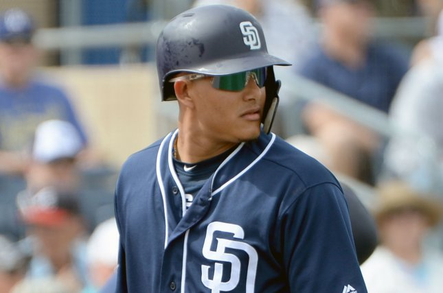 San Diego Padres slugger Manny Machado is hitting .240 this season after going 1-for-2 in a win against the Arizona Diamondbacks on Wednesday in San Diego. Photo by Art Foxall/UPI