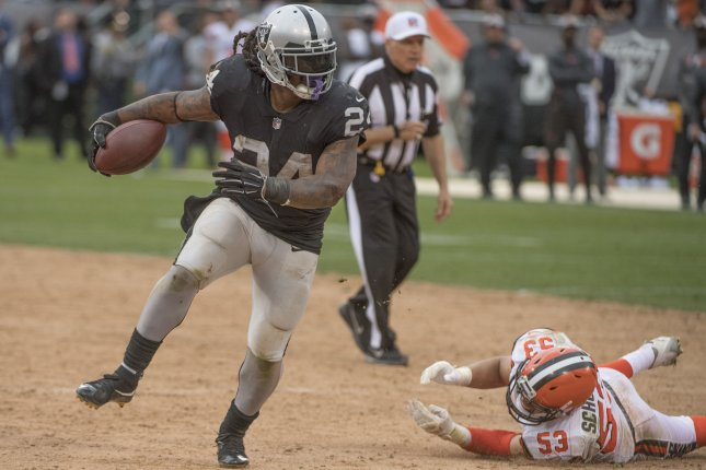Former Oakland Raiders running back Marshawn Lynch (24) scored three touchdowns in six games during his 2018 season, before missing 10 games due to a groin injury. File Photo by Terry Schmitt/UPI