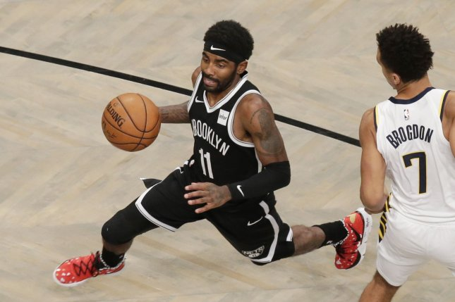 Brooklyn Nets guard Kyrie Irving (L) averaged 27.4 points per game this season, his first with the Nets. File Photo by John Angelillo/UPI
