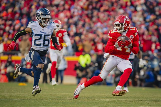 Kansas City Chiefs wide receiver Sammy Watkins (14) has been dealing with a calf injury that prevented him from practicing all week. File Photo by Kyle Rivas/UPI