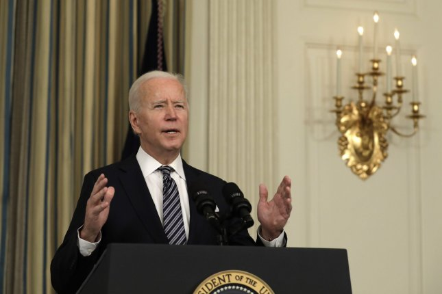President Joe Biden delivers remarks on the implementation of the American Rescue Plan at the White House on Monday. Photo by Yuri Gripas/UPI