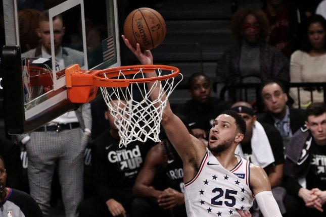 Philadelphia 76ers guard Ben Simmons struggled to produce on offense throughout the team's Eastern Conference Semifinals series loss to the Atlanta Hawks. File Photo by Peter Foley/UPI